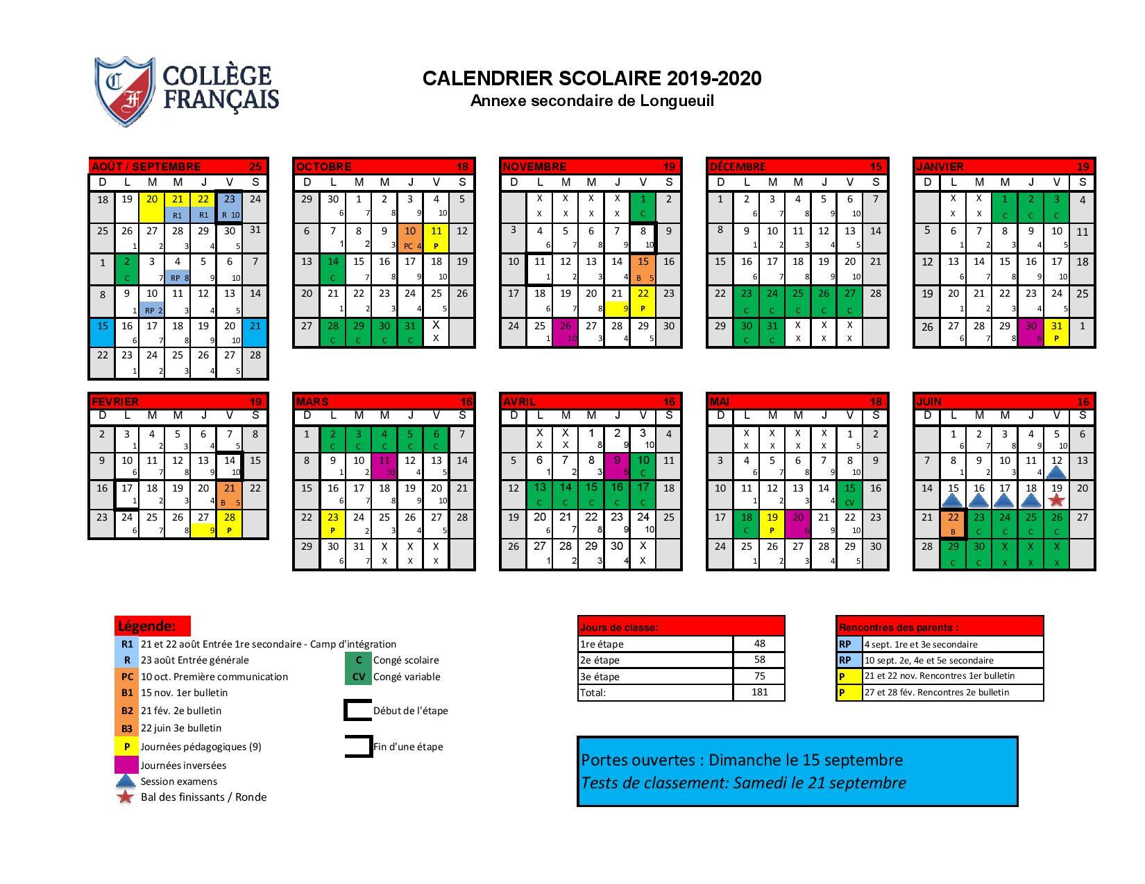 Calendrier Scolaire 2020 Et 2021.Calendrier Scolaire College Francais
